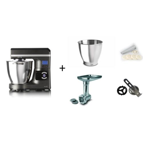 køkkenmaskine med kødhakker og pølsehorn